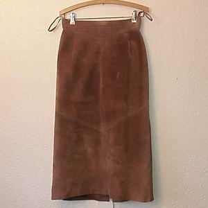 Suede vintage pencil skirt